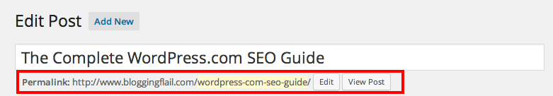 WordPress.com SEO Guide - URL Slug